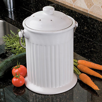 Ceramic Compost Crock contemporary kitchen trash cans