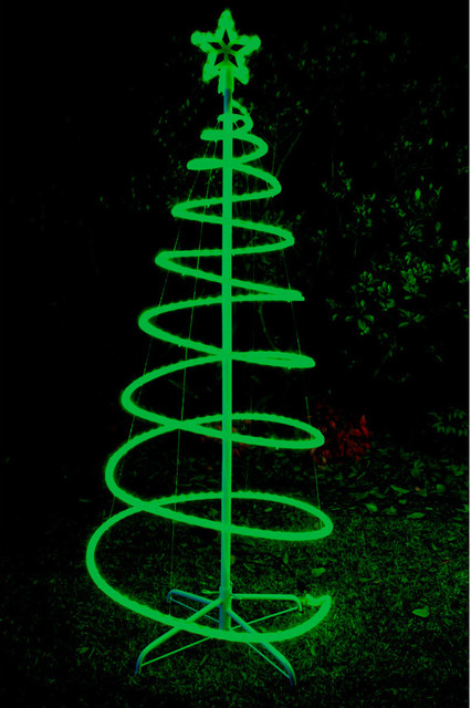 120cm green solar led spiral xmas tree rope light for Outdoor seasonal decorations