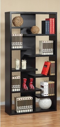 Enitial Lab 27091 Payton 8-Shelves Bookcase-Display Cabinet in Black Finish modern-storage-cabinets