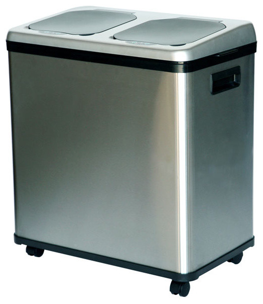 iTouchless NX 16-gallon Stainless Steel Recycle Bin - Modern - Recycling Bins - by Overstock.com
