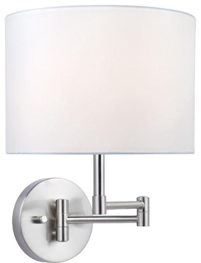 Swing Arm Wall Lamp - White Fabric Shade traditional-wall-lighting