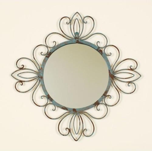 Round Metal Verdegris Wall Mirror modern-mirrors