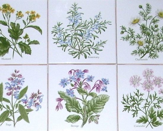 """Mottles Murals - Herb Set of 6 Ceramic Tile Accents Kiln Fired 4.25"""" x 4.25"""" Sage Rosemary Borage - Herb"""
