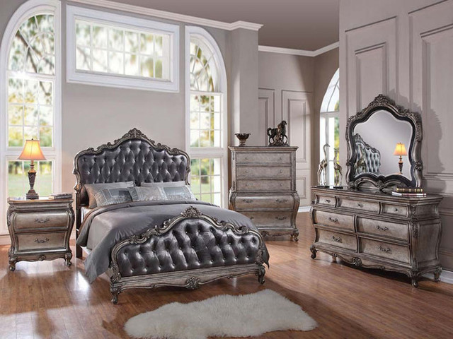 Traditional 5 piece granite top cal or estern king bed for Popular bedroom furniture