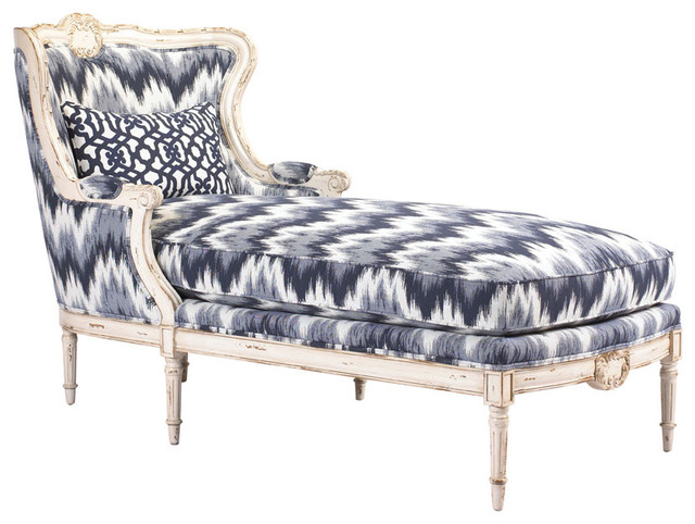 Bayonne french country blue white zig zag upholstered for Chaise zig zag