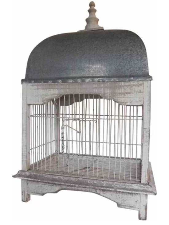 French Vintage Birdcage - It has been painted white in the shabby chic style with a zinc top and a wooden decorative finale.