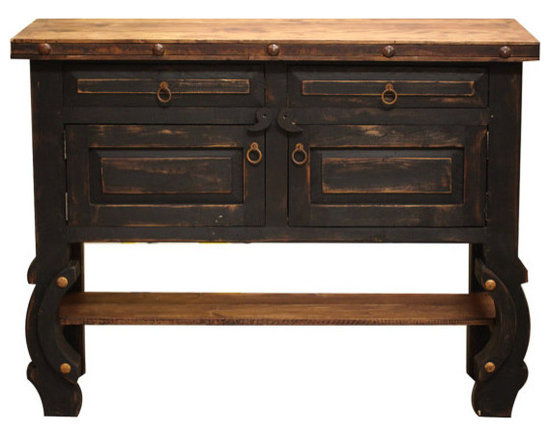 Black Rustic Vanity, 48x20x32 - A gorgeous and unique bathroom vanity that is hand painted black. If black isn't your color, we can customize this piece any way you'd like. The top has a coat of polyurethane to protect the wood from water damage.