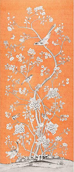 Chinois Palais Fabric, Tangerine asian-fabric