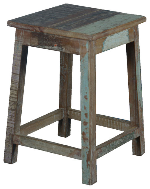 "Stool Bedside Table: Square Rustic Reclaimed Wood 18"" Pedestal End Table Stool"
