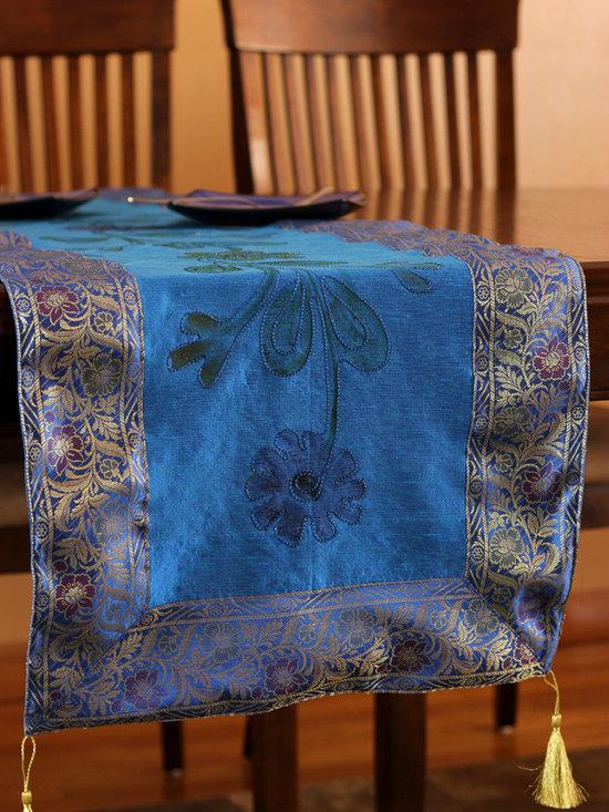 "Elegant Table Runners - Elegant ""Hand Painted"" table runner. Ocean Blue color. Decorative Indian design."