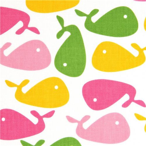 white whale designer fabric by Robert Kaufman USA fabric