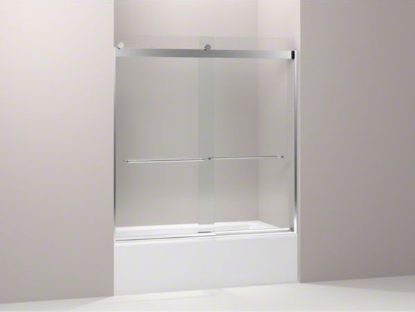 "KOHLER Levity(R) sliding bath door, 62"" H x 56-5/8"" - 59-5/8"" W, with 1/4"" thick contemporary-bath-products"