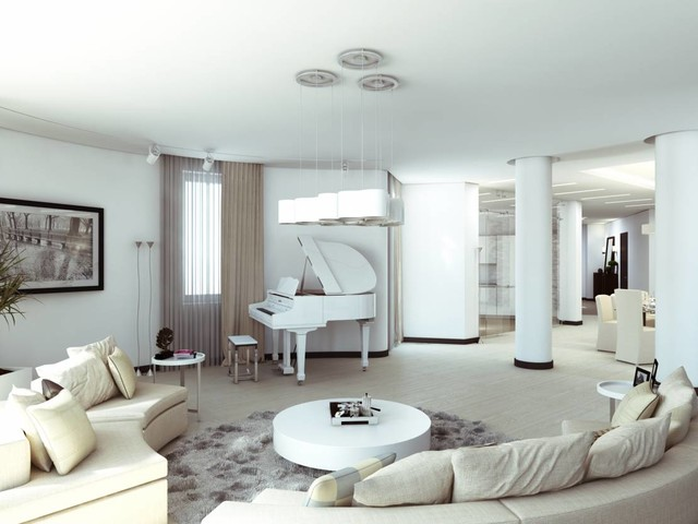 """Charming Minimalism - Apartment in """"Moskovyan Plaza"""" Multifunctional Complex in contemporary-living-room"""