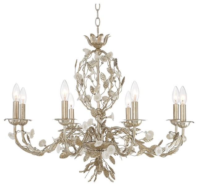 "Country - Cottage Champagne Leaves 30"" Wide Silver Chandelier traditional-chandeliers"