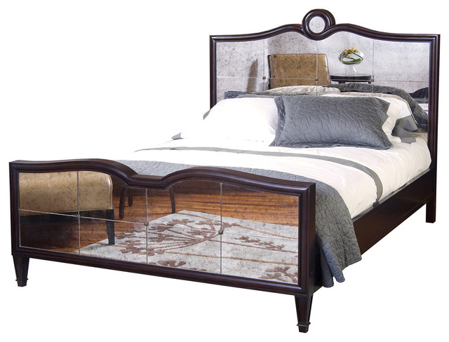 Grayson Espresso Luxe Mirrored Hollywood Regency Queen Bed transitional-beds