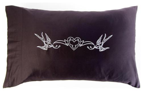 Modern Family Pillows On Bed : Love Birds Pillowcases - Modern - Shams - by Sin in Linen