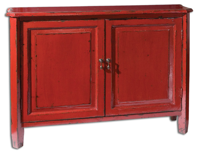 Altair red console cabinet asian storage cabinets by for Asian console cabinet