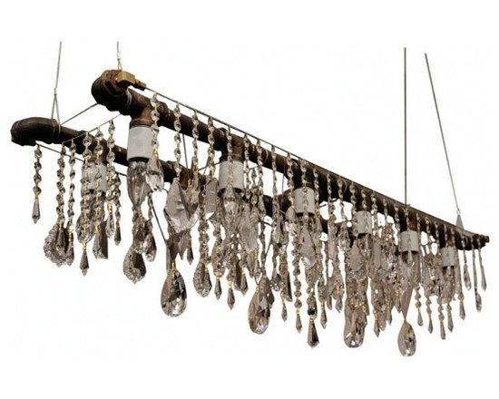 ecofirstart - Banquetting Chandelier - VINTAGE STEEL AND BOHEMIAN CRYSTAL.Narrow- gauge rough black steel gas pipe fittings, and smaller, recessed candelabra sockets for eight clear flame- tipped clear bulbs which are encased on all sides by optically- pure fully leaded European crystal, allowing the filaments to reflect and refract a thousand different angles.
