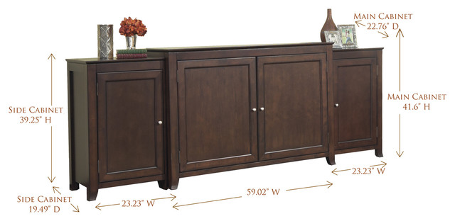 """Monterey TV Lift Cabinet With Side Cabinets For Flat Screen TV's Up To 55"""" - Traditional ..."""