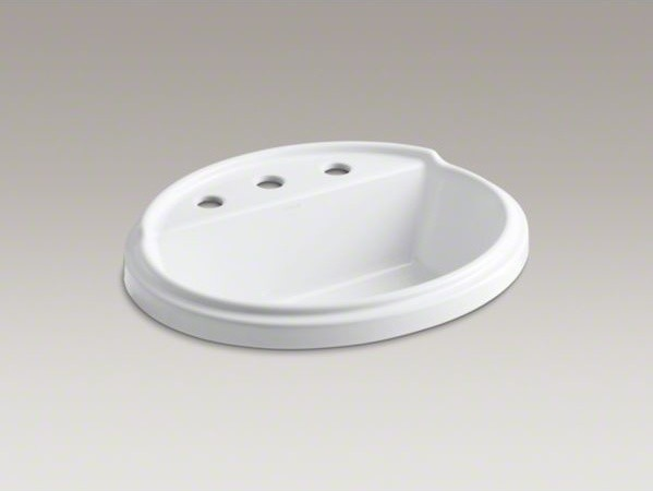 "KOHLER Tresham(R) oval drop-in bathroom sink with 8"" widespread faucet holes contemporary-bathroom-sinks"
