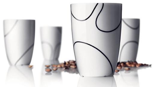 Thermo Cups, Medium, Black Contour, Set of 4 contemporary-mugs
