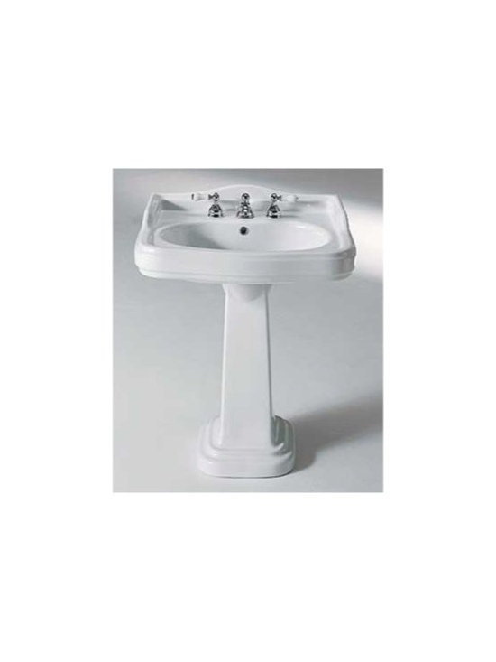 GSI - Beautiful Classic Style Pedestal Bathroom Sink by GSI - This gorgeous class style bathroom sink is made of high quality white ceramic. It is designed and manufactured in Italy by GSI. Rectangular pedestal sink includes overflow and comes with either 3 faucet holes (as shown) or a single hole.