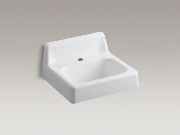 "KOHLER Hudson(TM) 20"" x 18"" wall-mount/concealed arm carrier bathroom sink with contemporary-bathroom-sinks"