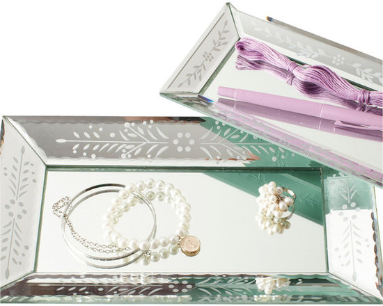 Exquisite Set of 2 Etched Mirror Trays - Delicate scalloped edges on perfectly-joined panes are only the beginning of the artistry and craftsmanship subtly evidenced in the Exquisite Etched Mirror Trays. Each of the two rectangular trays in this collection, which are designed to stack or separate for different but equally glamorous looks, is elegantly etched with classic, feminine floral designs on the angled edges.