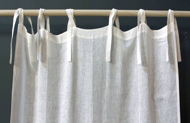 On Sale Linen Voile Tie Top Curtain Panel - Cream - modern ...