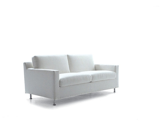 """Vibieffe - CIAK Sofa Bed 75"""" - Simplicity, functionality, research and balance of volumes all come together in this greatly versatile design. Bed is a European full size mattress (55""""x79""""). Seat and back cushions in foam and dacron. Fully removable fabric cover is a mid-grade Cotton Polyester blend. Available with wood or metal feet. Made in Italy."""