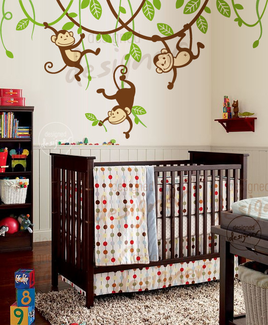 monkey bedroom decor tree wall decal giraffe wall decal jungle animals monkey swinging from branch and - Nursery Decorations