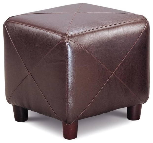 Ottomans Contemporary Faux Leather Cube Ottoman by Coaster contemporary-footstools-and-ottomans