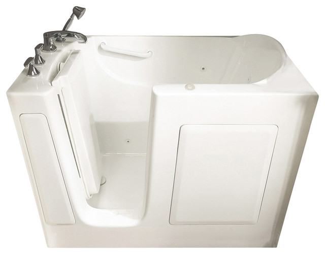 31 inch x 51 inch Walk-In Whirlpool Tub with Left Drain in White contemporary-bathtubs