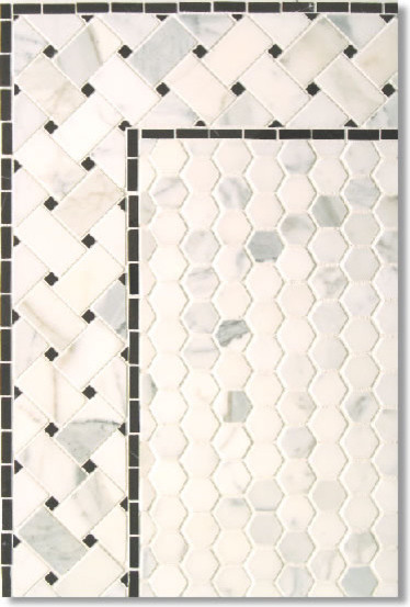 Calacatta Hexagon With Basketweave Border Contemporary