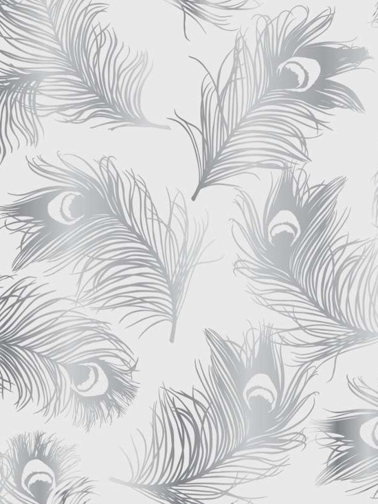 Tempaper Feathers Silver Frost Removable Wallpaper -