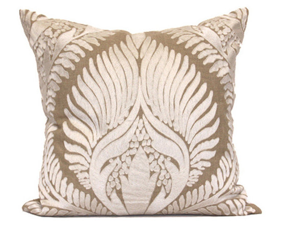 Kathy Kuo Home - Revere Coastal Beach Tan Natural Square Pillow - Hand embroidered pillows in linen and silk are sumptuously oversized and generously filled with down and feathers - tossed on a bed or a gathered on a sofa, create a lasting personal touch.
