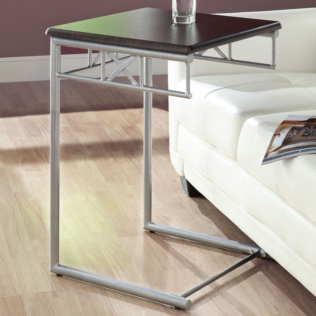 Cappuccino / Silver Metal Snack Table contemporary-side-tables-and-end-tables