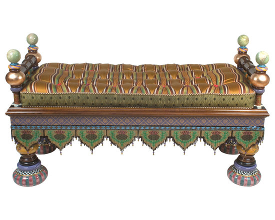 Preposterous Bench | MacKenzie-Childs - Preposterously perfect, that is, and every inch MacKenzie-Childs theatre. Hardwood frame is hand decorated with checks, dots, gold leaf, wallpapers, hand-painted faux marbling, and a sassy sash of handmade glass beaded fringe. Handmade and decorated majolica feet. Reversible cushion.