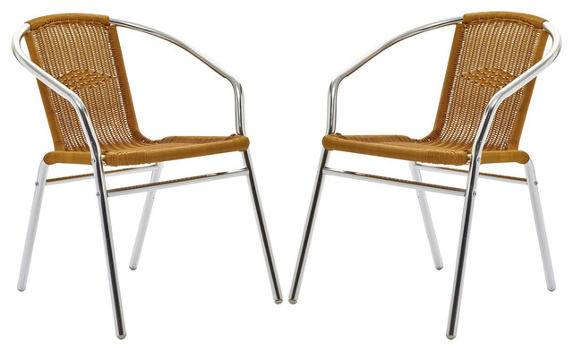 Bistro chromed rattan cafe chairs modern dining chairs by lexmod - Cane bistro chairs ...