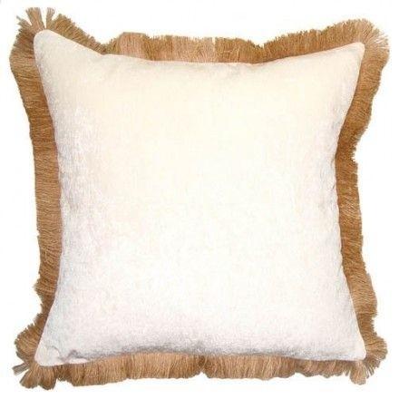Square Feathers Jute Fringe Ivory Pillow midcentury-decorative-pillows