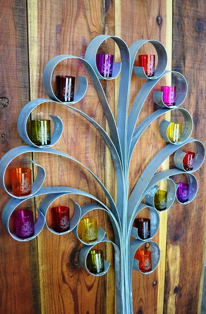 Wine Barrel Ring Tree Top Wall Art w/candle holders