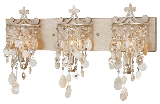 Anastasia Silver Leaf 3 Light Vanity - Beach Style - Bathroom Vanity Lighting