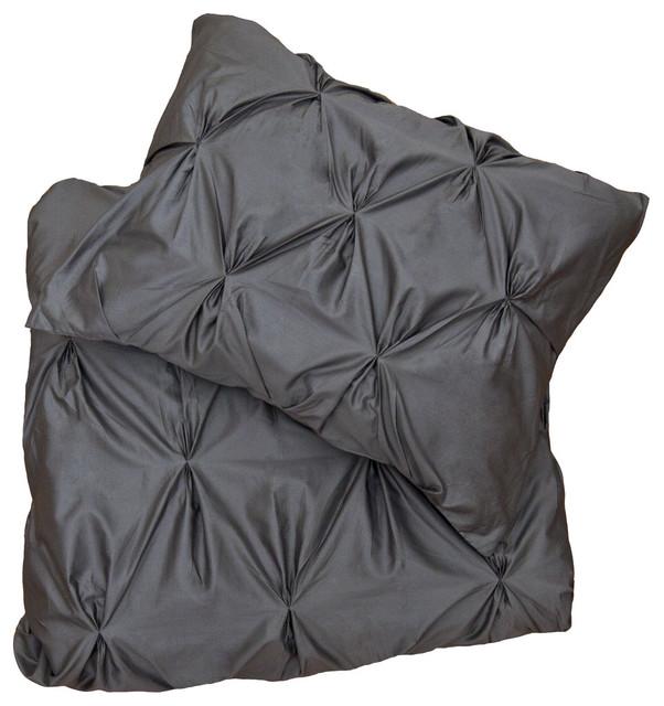 400 Thread Count Pintuck Duvet Cover, The Valencia Gray modern-duvet-covers