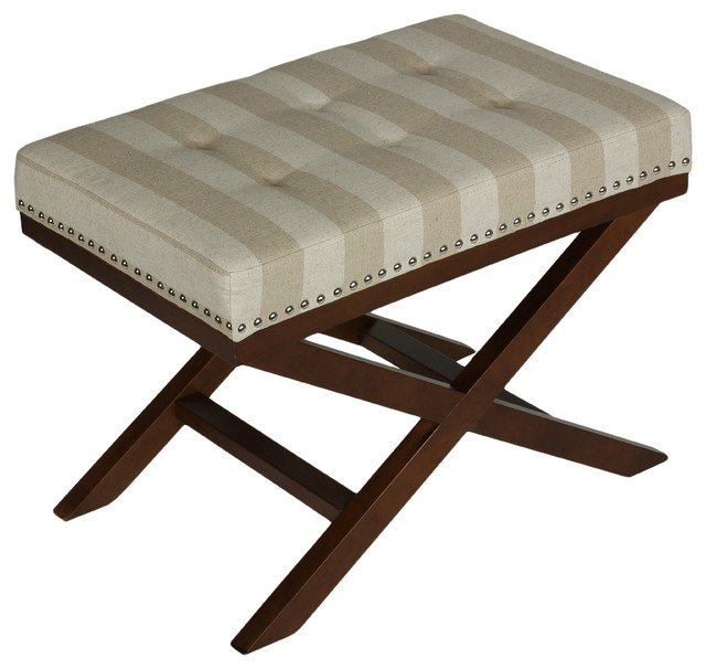 Kayla X Bench Ottoman Beach Stripes Transitional Footstools And Ottomans By Cortesi Home