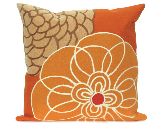"""Trans-Ocean Outdoor Pillows - Trans-Ocean Liora Manne Disco Orange - 20"""" x 20"""" - Designer Liora Manne's newest line of toss pillows are made using a unique, patented Lamontage process combining handmade artistry with high tech processing. The 100% polyester microfibers are intricately structured by hand and then mechanically interlocked by needle-punching to create non-woven textiles that resemble felt. The 100% polyester microfiber results in an extra-soft hand with unsurpassed durability."""