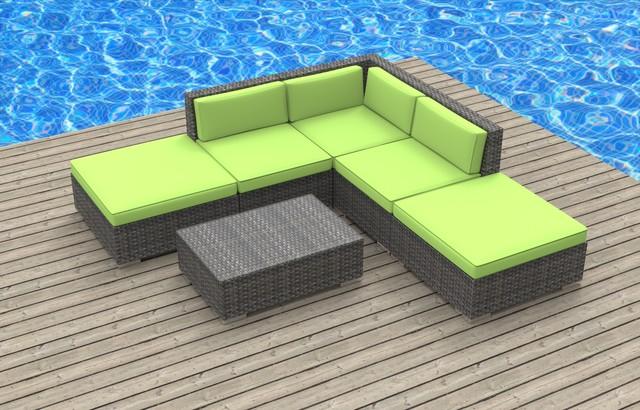 Bali 6pc Ultra Modern Wicker Patio Set Lime Green Modern Outdoor Loung
