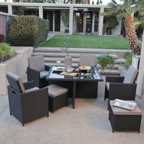 Kubi All-Weather Wicker Nesting Dining Set- Seats 4 modern-dining-tables