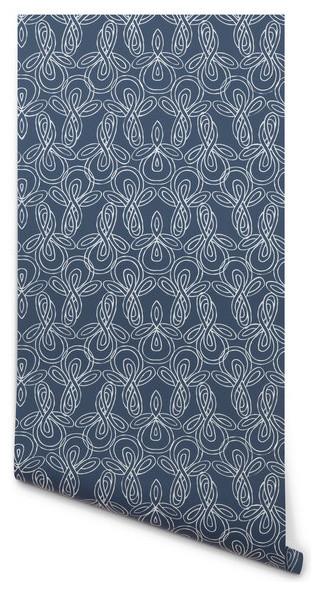 Knots Wallpaper, Deep Blue/White contemporary-wallpaper