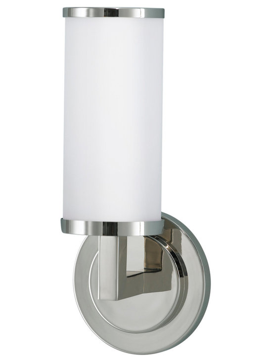Industrial Revolution Polished Nickel Bathroom Vanity Light - Clean and classic contemporary cylindrical bath light in high quality die cast zinc. Finished in polished nickel and housing an opal etched glass shades gives a clean and polished look. Ideal for bathrooms, hallways and more.