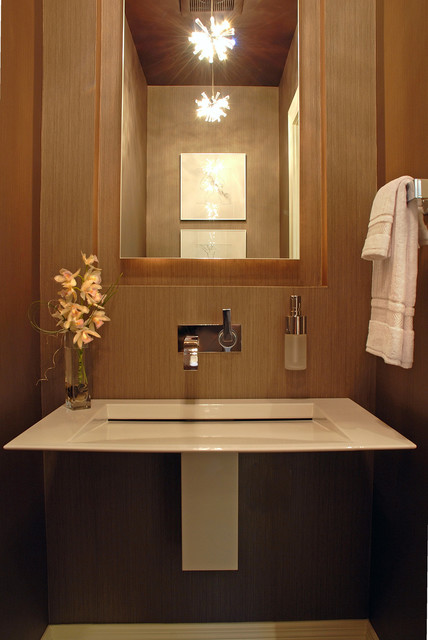 Contemporary powder room for Glass wash basin designs dining room